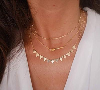 Lot de 3 Colliers fins plaqué or - bijoux géométrique - chaîne doré - triangles - flèche or - bijoux boho - ras du cou - chocker doré