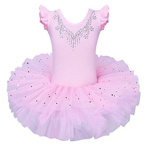 Ballett Kostüm Designer - ZNYUNE Mädchen Kinder Baby Ballettkleid Ballettanzug 4 Lagen Trikot Leotard Ballettbekleidung Ballettbody 5 6 Jahre Pink