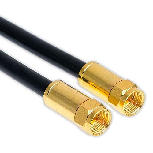 30m Sat Koax kabel Digital TV 5-fach 135dB Schwarz F-Stecker VERGOLDET Antennenkabel Class A+ ULTRA HD 4K 3D Koaxial Satelliten Kabel (30m, Schwarz)
