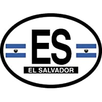 El Salvador Oval Glossly FLAG Decal, Waterproof UV Coated Laminated Reflective Vinyl STICKER, 3.5