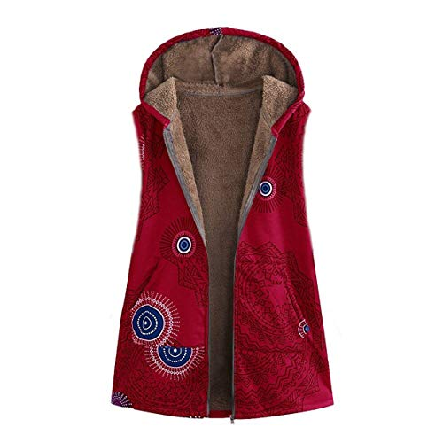 Frauen Sleeveless Weste Damen Mit Kapuze Waitcoat Mode Warme Outwear  Vintage Geometric Print Mit Kapuze Taschen Oversize Weste Mantel Moonuy 3480a95498