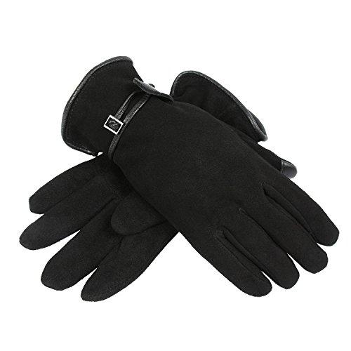 OZERO Handschuhe Winter Damen Leder Warm Samt Gefüttert Touchscreen Handchuhe mit Verstellbarem Gürtel Sport für Mädchen (Schwarz, XL)