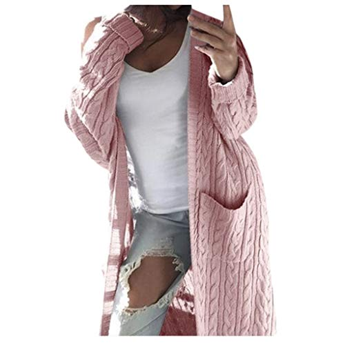 n Winter Lange Hülsen beiläufige lose gestrickte Strickjacke Überbrücker Mantel Oberseiten Frauen Tasche Twist Langarm Strickjacke Jacke(Rosa,L) ()