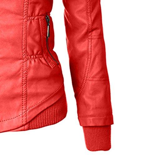 Zhiyuanan Donna Inverno Slim Giacca Con Cappuccio Maniche Lunghe Cerniera Placket Hooded Cappotto Addensare Caldo Casual Giubbotti Rosso