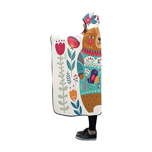 JIMO Mit Kapuze Decke Baby Winter Cartoon Dekorative Bär Decke 60 x 50 Zoll Comfotable Mit Kapuze werfen Wrap