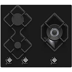 Hudson Table Plaque de Cuisson 3 feux Gaz - HTG 3 BVN - à encaster - Design Verre Noir - très haute résistance (580 x 510x 40 mm),