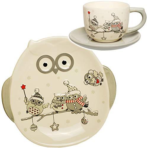 3 TLG. Set _ Henkeltasse / Kaffeetasse mit Untertasse + Teller - lustige Eulen im Winter - groß -...