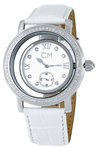 carlo monti ladies automatic watch with white dial analogue display and white leather strap cm104-186
