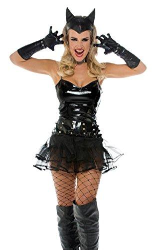 senenkostüm Fledermaus mit Tutu und Spikes, schwarz (Fledermaus Kostüme Für Katzen)