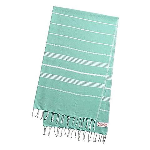 Serviette Fouta Drap de Bain Hammam Pestemal pour Bain et Plage 100% Coton Couleur: Vert XL Extra Large 220 cm x 160 cm