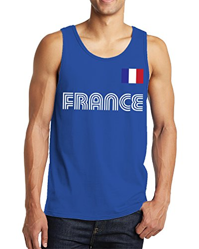 SpiritForged Apparel Herren Tank Top France Soccer Jersey - Blau - XX-Large