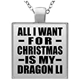 Designsify All I Want for Christmas is My Dragon Li - Square Necklace, Kette Silber Beschichtet Charme-Anhänger, Geschenk für Geburtstag, Weihnachten