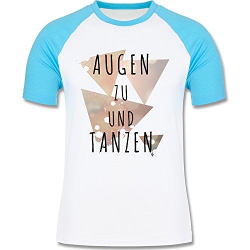 Shirtracer Festival - Augen zu und Tanzen - Herren Baseball Shirt Weiß/Türkis