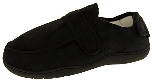 Footwear Studio Réglable Velcro Orthopédique Pantoufles Hommes Noir