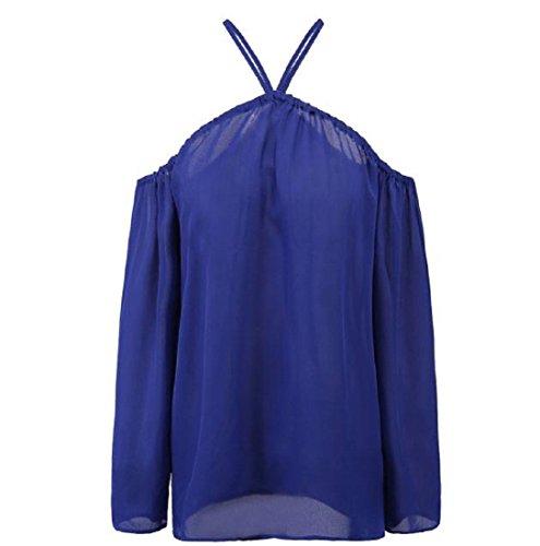 Gilet femme Ularmo Femmes Mode irrégulière Bretelles en mousseline de soie Tops T-shirt Bleu