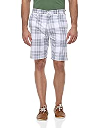 Blue Wave White And Grey Checkered Casual Short For Men