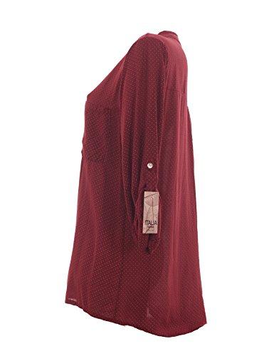 Damen Bluse Tunika Longbluse mit Punkten Rauten Flowers Lässige Bluse Fischerhemd Polka Dots Bordeaux