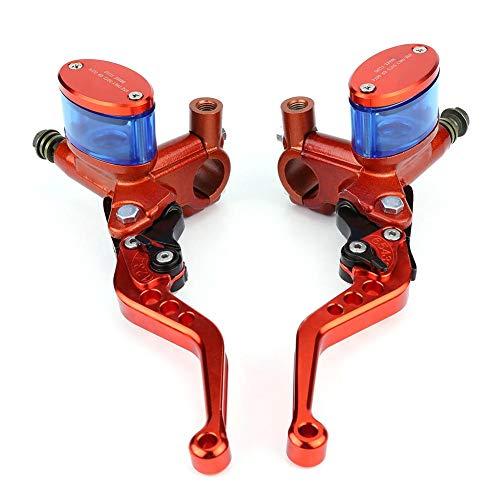 KIMISS KI6164 1 paio di pompa freno CNC Refit idraulico Manubrio Cilindro del freno Master per Dirt Pit Bike ATV Quad scooter moto(Orange)