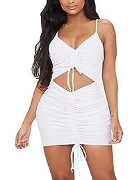 Vestidos Mujer Corto Elegante Verano Tirantes V Cuello Sin Tirantes Espalda  Abierta Skinny Min Vestido Fiesta a492e8a5e5f4