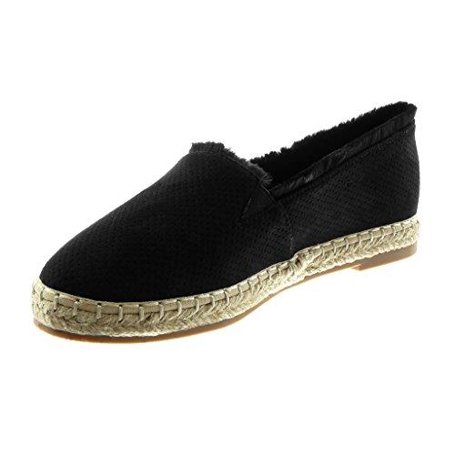 Angkorly Damen Schuhe Espadrilles Sandalen - Slip-On - Perforiert - Seil - Ausgefranst Blockabsatz 2 cm Schwarz
