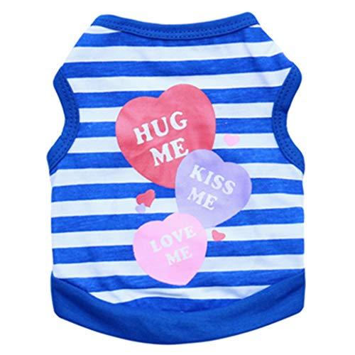 Hunde-T-Shirt für kleine Hunde, gestreift, weiche Baumwolle, für Katzen und Welpen L dunkelblau -