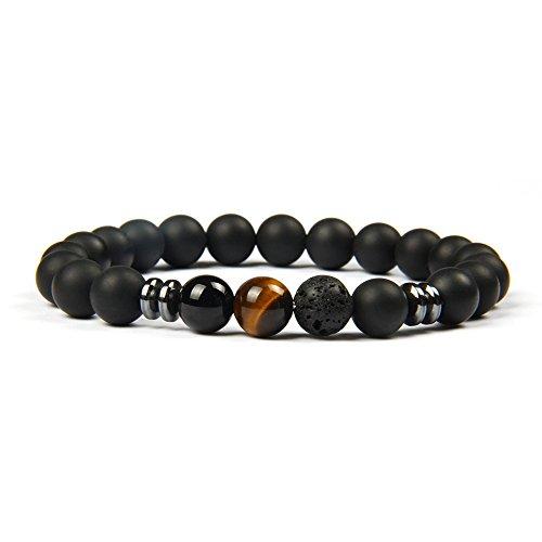 GOOD.designs Chakra-Perlenarmband aus Onyx-Lava-Natursteinen, Energiearmband mit bunter Jaspis-Weltkugel, Yoga-bracelet (Tigerauge) (Perlen Armband Schwarz)