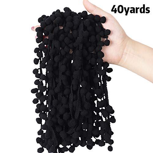 Cinta de tela con pompones de 40 yardas para decoración de costura, tamaño de bola de 1,19 cm negro