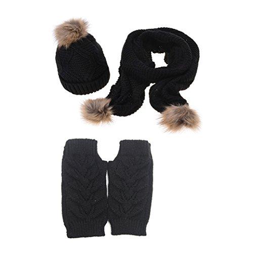 Jelinda Mujer Otoño invierno gorro de sombrero guante y conjunto de bufanda (negro)