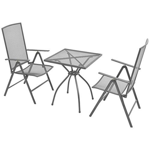 vidaXL Bistroset 3-tlg. Streckmetall Balkonset Gartengarnitur Sitzgruppe