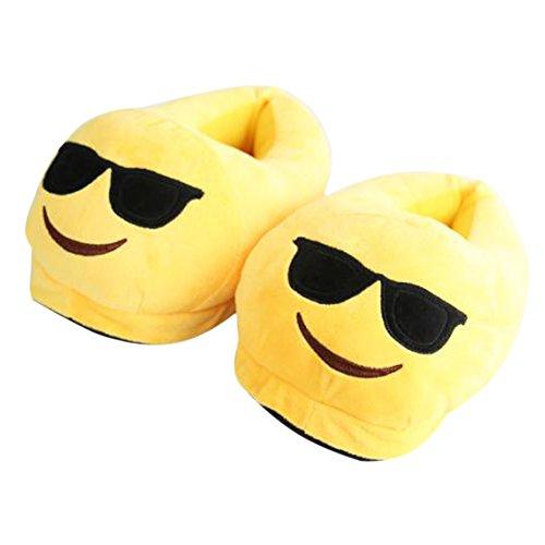 Warme Schuhe Winter-Hefterzufuhren Emoji weiche nette Karikatur-Plüsch-Hefterzufuhren Glasses