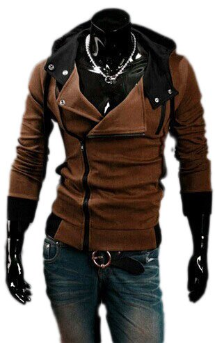 Assassin's Creed III Cosplay Hoodie Hoodie hommes Creed III Sweat Veste à capuche Assassin (EU S(tag L), coffee) Café
