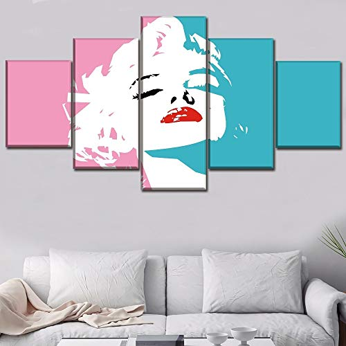 Wall Art Home Decor Framework Canvas Pictures 5 Piece Celebrity Marilyn Monroe Pink Paintin For Living Room HD Print Type Poster (Marilyn Frames Picture Monroe)