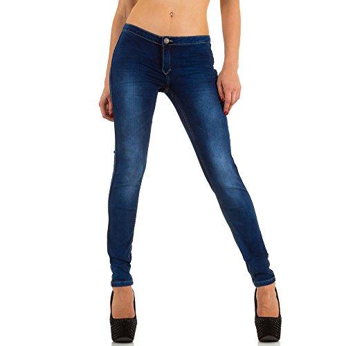 Damen Jeans Used Look Hüft Skinny Blau Modell 1 Blau
