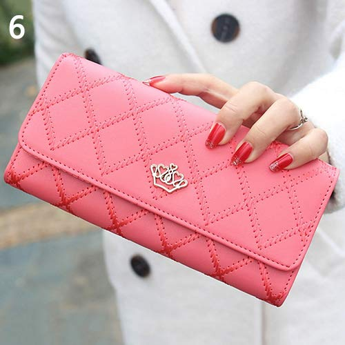 AchidistviQ, pochette da donna in finto cuoio, con decorazione trapuntata e corona, portafoglio a borsetta, Watermelon Red