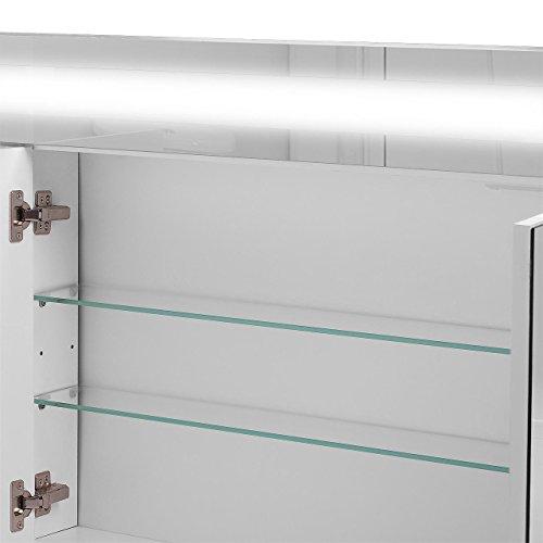 Badspiegelschrank beleuchtet BF01W90, 3-türig, 90x65x15cm, Weiss, inkl. Leuchtmittel - 7