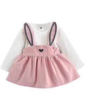 BYSTE Autunno Bambino Ragazza Cute coniglio Bandage Mini abito Principessa abito a maniche lunghe vestito/0-3...