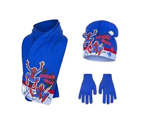 Spiderman Mütze Handschuhe und Schal Jungen (Blau, 4-7 Jahre)