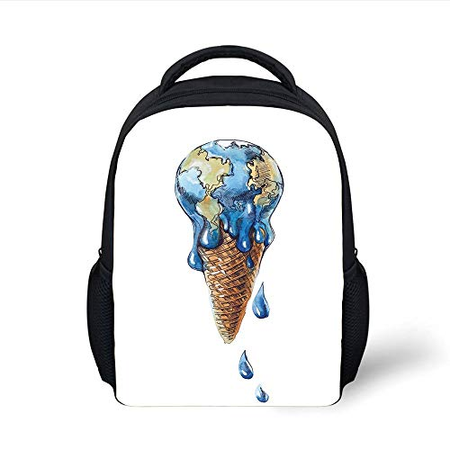 Kids School Backpack Ice Cream Decor,Ice Cream with Globe Planet Earth Flavor Ecological Graphic Decorative,Light Caramel Violet Blue Plain Bookbag Travel Daypack -