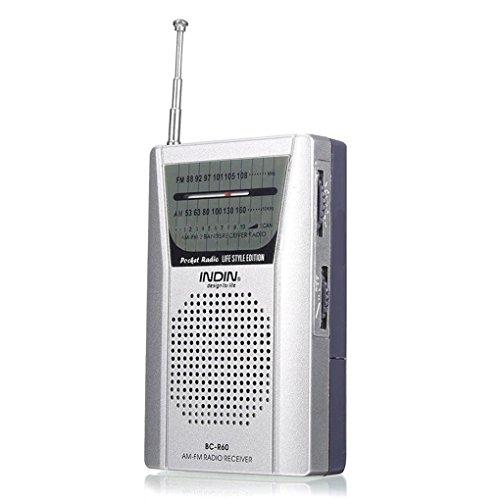 Pegcdu BC-R60 Pocket Radio Teleskopantenne Mini AM/FM-2-Band Radio Weltempfänger mit Lautsprechern 3,5-mm-Kopfhörerbuchse