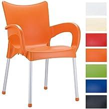 CLP Sedia da esterno ROMEO, sedia da giardino o cucina in polipropilene e alluminio, impilabile, di design, con braccioli e schienale, 4 gambe, sedia bar, capacità carico massima 160 kg arancione