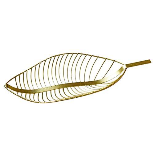 BESTonZON Obstkorb Eisen Europäischen Stil Kreative Blätter Form Gemüsekorb Lagerung Dish Holder Candy Snack Rack (Gold) -