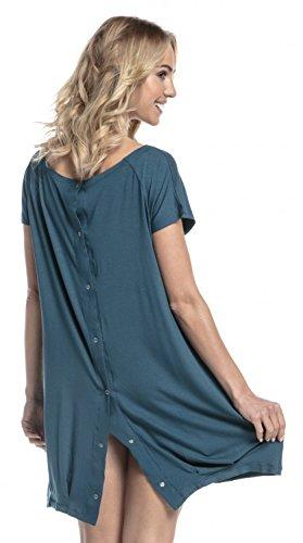 HAPPY MAMA Damen Geburtskleid Krankenhaus Umstands Nachthemd Stillfunktion. 097p (Flaschengrün, EU 38/40, S)