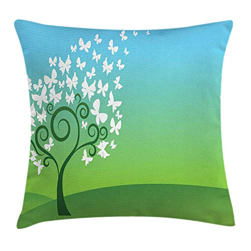 GONIESA Abstract Throw Pillow Cushion Cover, Green Hills a Tree White Butterflies Swirling Branches, Decorative Square Accent Pillow Case, 18 X 18 Inches, Green Pale Blue White