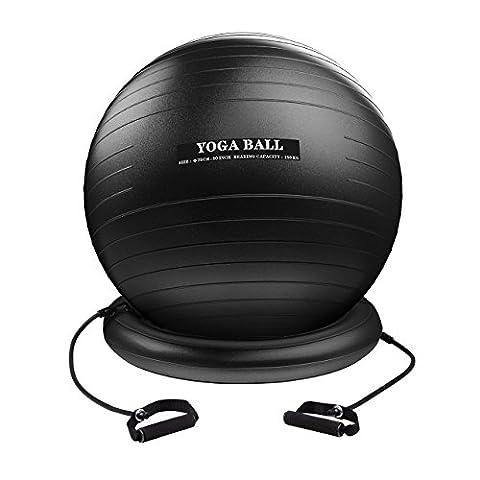 Homitt Gymnastikball, 330 lbs Yoga-Ball Anti-Burst Pezziball, Büro Sitzball 75cm inkl. Ballpumpe, Ballschale, Widerstandsbändern, Expander, Kork Abzieher und Stopper, Fitnessball für Training