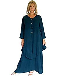 LOTUSTRADERS Damen Lagenlook Doppellagiges Kleid