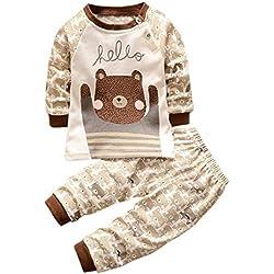 K-youth Ropa Bebé Niño Otoño Invierno Infantil Recien Nacido Camisas de Manga Larga Niños Ropa Conjunto Lindo Tops de Dibujos Animados Grizzly + Pantalones Trajes Conjunto Niño(Marrón, 6-12 Meses)