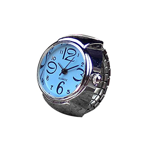 Kostüm Schmuck Cocktail Ringe - Damen Mädchen Fashion Finger Ring Armbanduhr Mingfa Creative Analog Quarz Armbanduhr Statement Verlobungsring Hochzeit Jahrestag Ring Verstellbar, Legierung, Blau, 50,80 cm