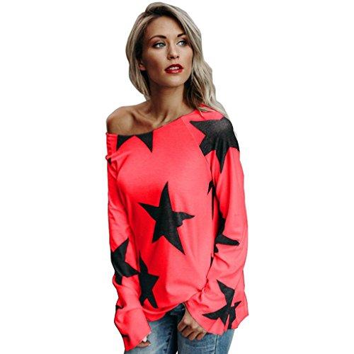 Frauen Langarm Oberteile Pulli Baumwolle Shirt, LILICAT Damen Tuniken Langarm Sweatshirt Casual Pullover Rundhals Tops Freizeit Bluse Lässige Sweatshirt (3XL, Rot B) (Kapuzen-langarm-tunika)