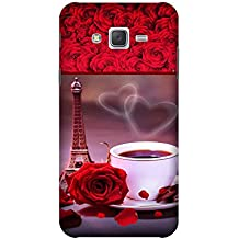 Yashas High Quality Designer Printed Case & Cover for Samsung Galaxy J7 (2016 Model) (Eiffel Tower & Cup With Red Rose)