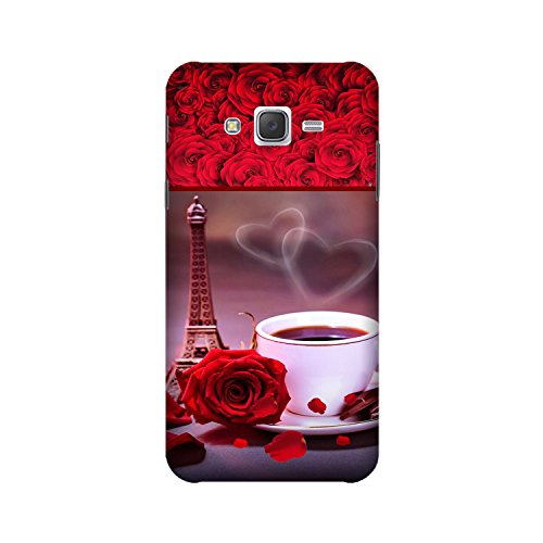 Yashas High Quality Designer Printed Case & Cover for Samsung Galaxy J2 (2016 Model) (Eiffel Tower & Cup With Red Rose)